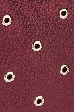 REDValentino Eyelet-embellished textured-leather shoulder bag