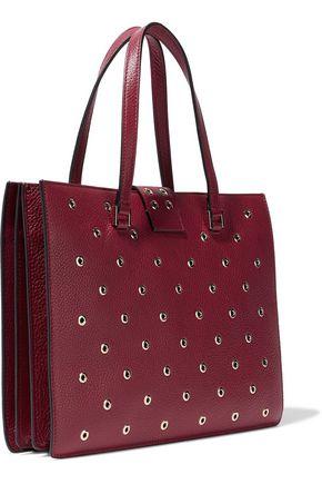 RED(V) Eyelet-embellished textured-leather tote