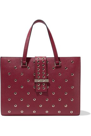 RED(V) Eyelet-embellished textured-leather tote