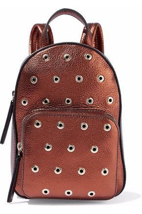 RED(V) Eyelet-embellished metallic textured-leather backpack