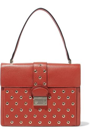 REDValentino Eyelet-embellished textured-leather tote