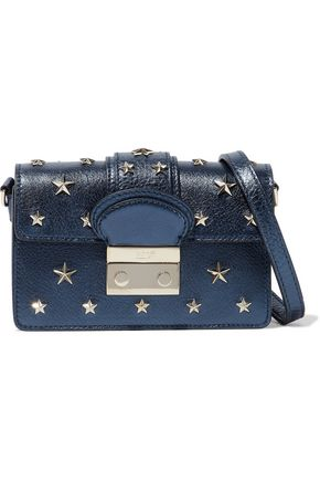 RED(V) Studded metallic textured-leather shoulder bag