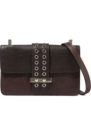 RED(V) Eyelet-trimmed textured-leather shoulder bag