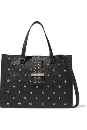 RED(V) Eyelet-trimmed studded textured-leather tote