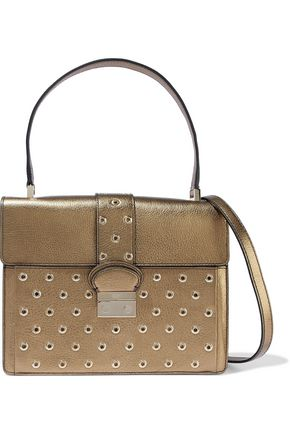 REDValentino Eyelet-embellished metallic textured-leather shoulder bag