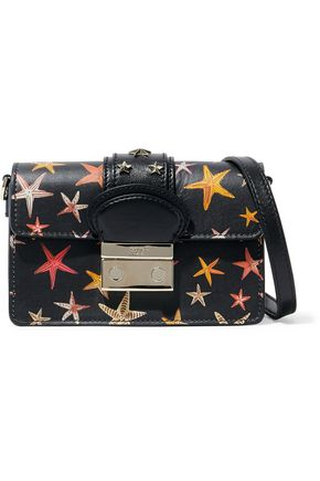 REDValentino Studded printed leather shoulder bag
