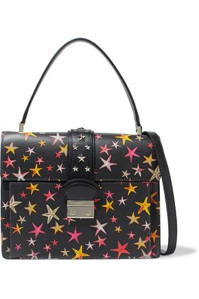 RED(V) Studded printed leather shoulder bag