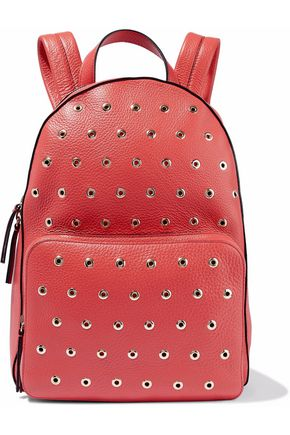 RED(V) Eyelet-embellished textured-leather backpack