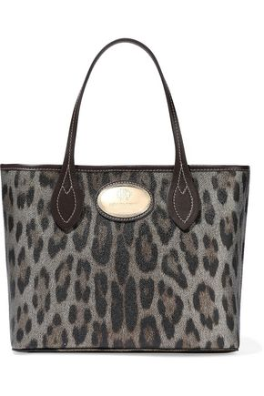 Roberto Cavalli Metallic Leopard Print Textured Leather Tote