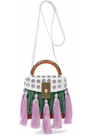 THE VOLON Embellished color-block leather shoulder bag