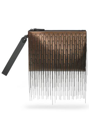 BRUNELLO CUCINELLI Fringed metallic leather pouch
