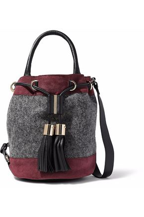 SEE BY CHLOÉ Vicki leather-trimmed suede and felt bucket bag
