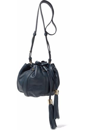 78438e6fa0a81 Tasseled textured-leather bucket bag | SEE BY CHLOÉ | Sale up to 70 ...