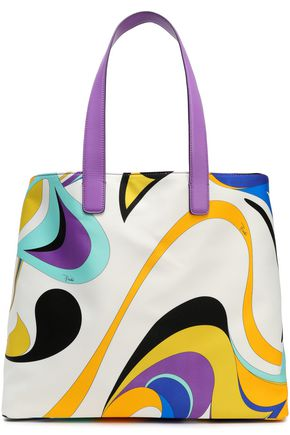 EMILIO PUCCI Leather-trimmed printed satin tote