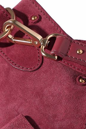 SEE BY CHLOÉ Collins mini leather-paneled tasseled suede shoulder bag