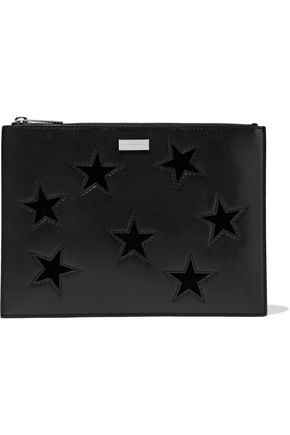 STELLA McCARTNEY Laser-cut velvet and faux leather clutch