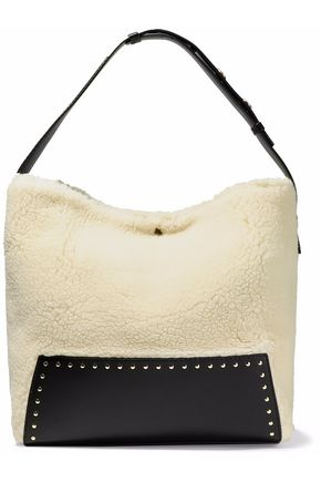 STELLA McCARTNEY Studded faux leather-paneled faux shearling tote