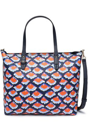 TORY BURCH Printed textured-leather tote
