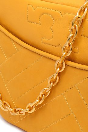 TORY BURCH Leather and nubuck shoulder bag