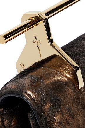 M2MALLETIER Fabricca distressed metallic calf hair clutch
