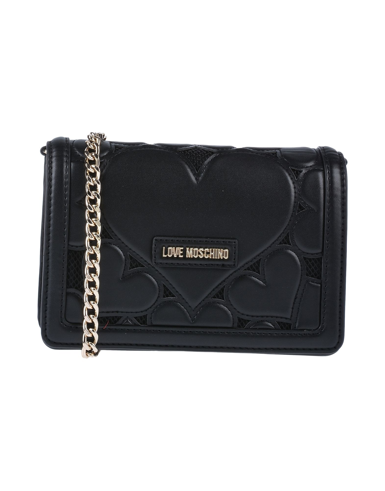《送料無料》LOVE MOSCHINO レディース ハンドバッグ ブラック ポリウレタン / 紡績繊維