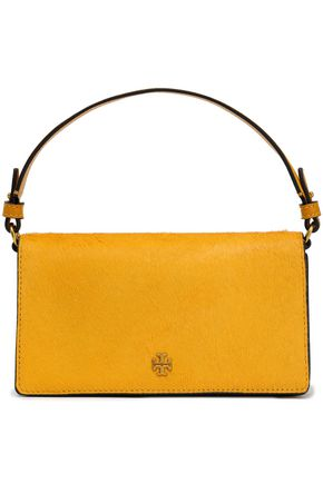 TORY BURCH Cleo embellished calf hair and suede shoulder bag