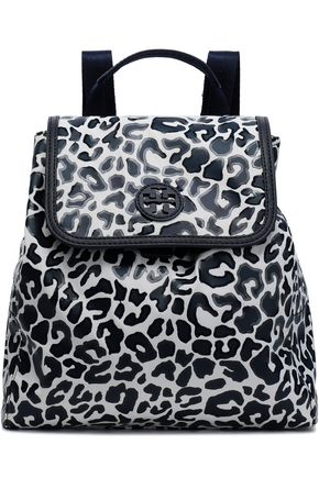 TORY BURCH Leopard-print coated twill backpack
