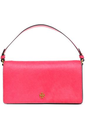 TORY BURCH Suede and calf hair shoulder bag