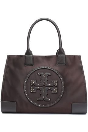 TORY BURCH Ella leather-appliquéd shell tote