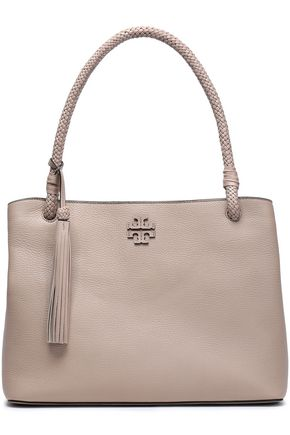 f827ccf3191c TORY BURCH Taylor tasseled textured-leather tote ...