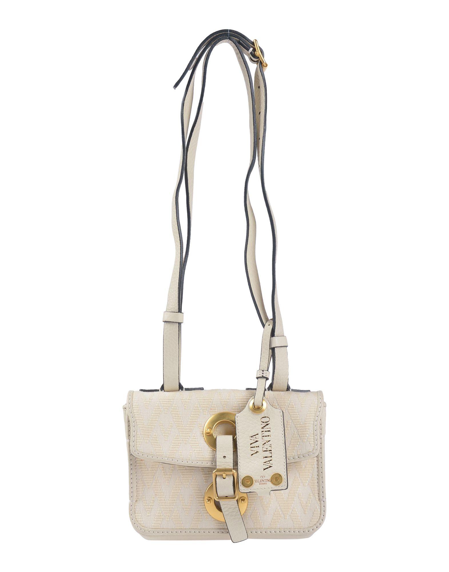 《送料無料》VALENTINO GARAVANI レディース 肩掛けバッグ アイボリー 革 / 紡績繊維