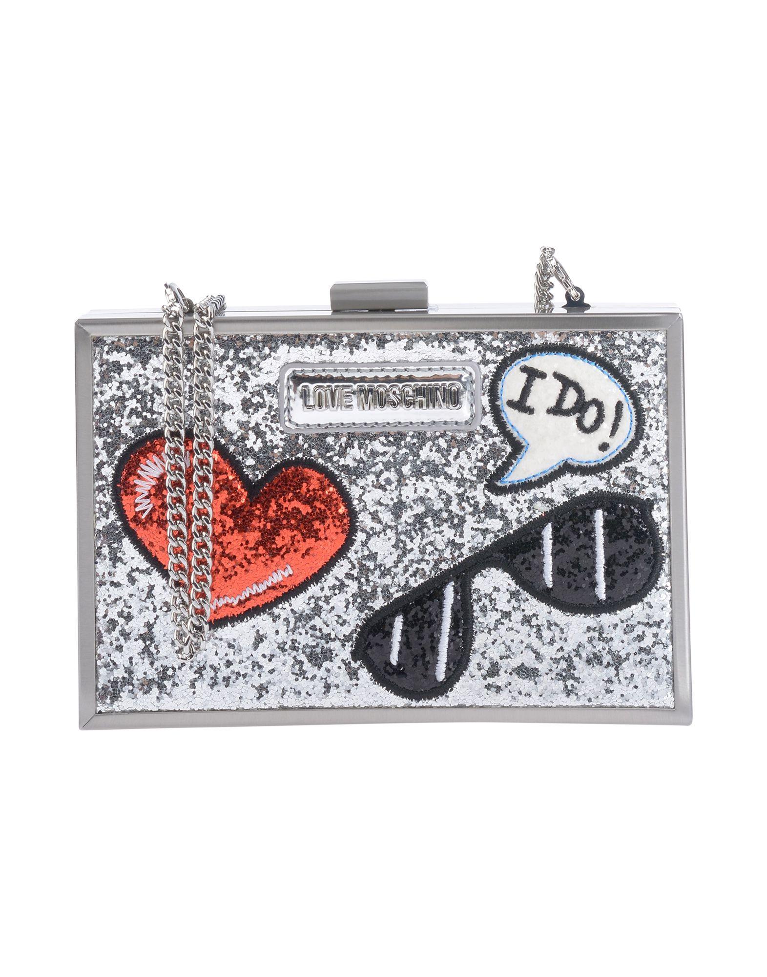 《送料無料》LOVE MOSCHINO レディース ハンドバッグ シルバー ポリウレタン