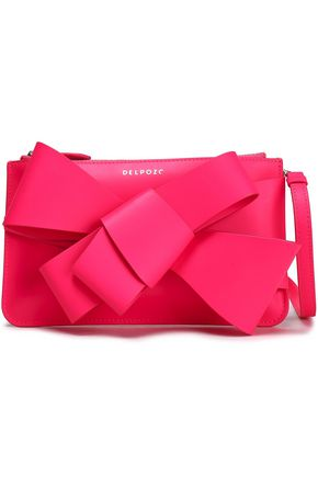 DELPOZO Bow-embellished leather clutch