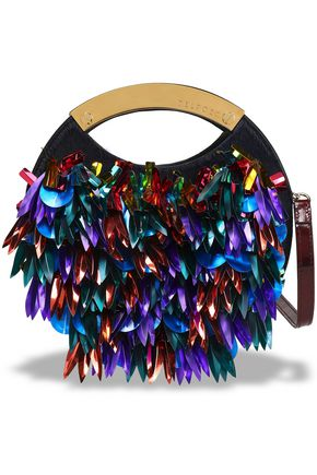 DELPOZO Sequin-embellished calf hair and patent-leather clutch