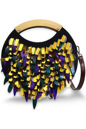 DELPOZO 装飾付き カーフヘア ショルダーバッグ