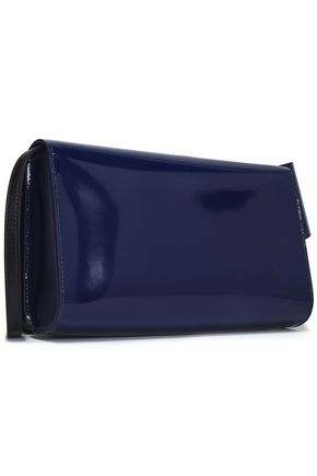 DELPOZO Appliquéd patent-leather clutch