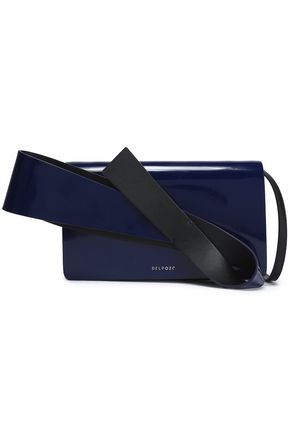 DELPOZO Appliquéd patent-leather clutch