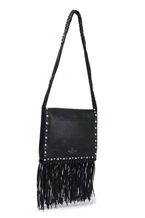VALENTINO GARAVANI Fringed embellished textured-leather shoulder bag