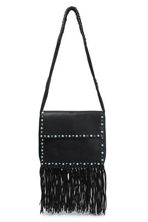 VALENTINO GARAVANI Fringed embellished textured-leather shoulder bag