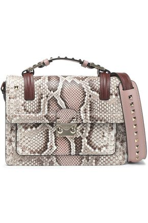 VALENTINO GARAVANI Studded smooth and snake-effect leather shoulder bag