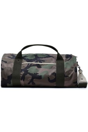 VALENTINO GARAVANI Leather-trimmed camouflage shell weekend bag