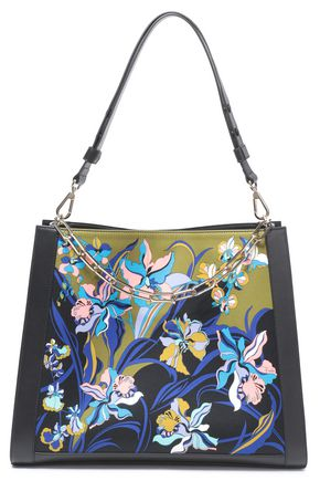 EMILIO PUCCI Floral-print satin and leather tote
