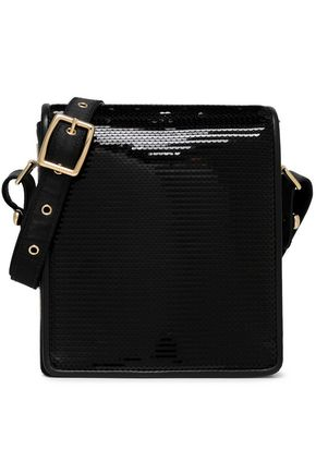 EMILIO PUCCI Leather-trimmed sequined satin shoulder bag