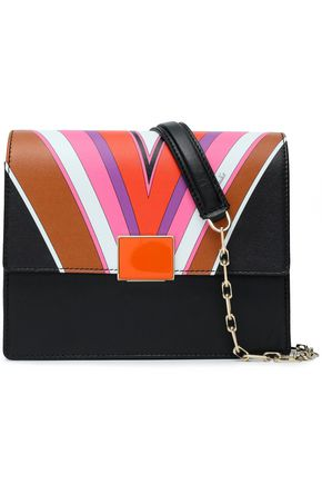 EMILIO PUCCI Paneled printed leather shoulder bag