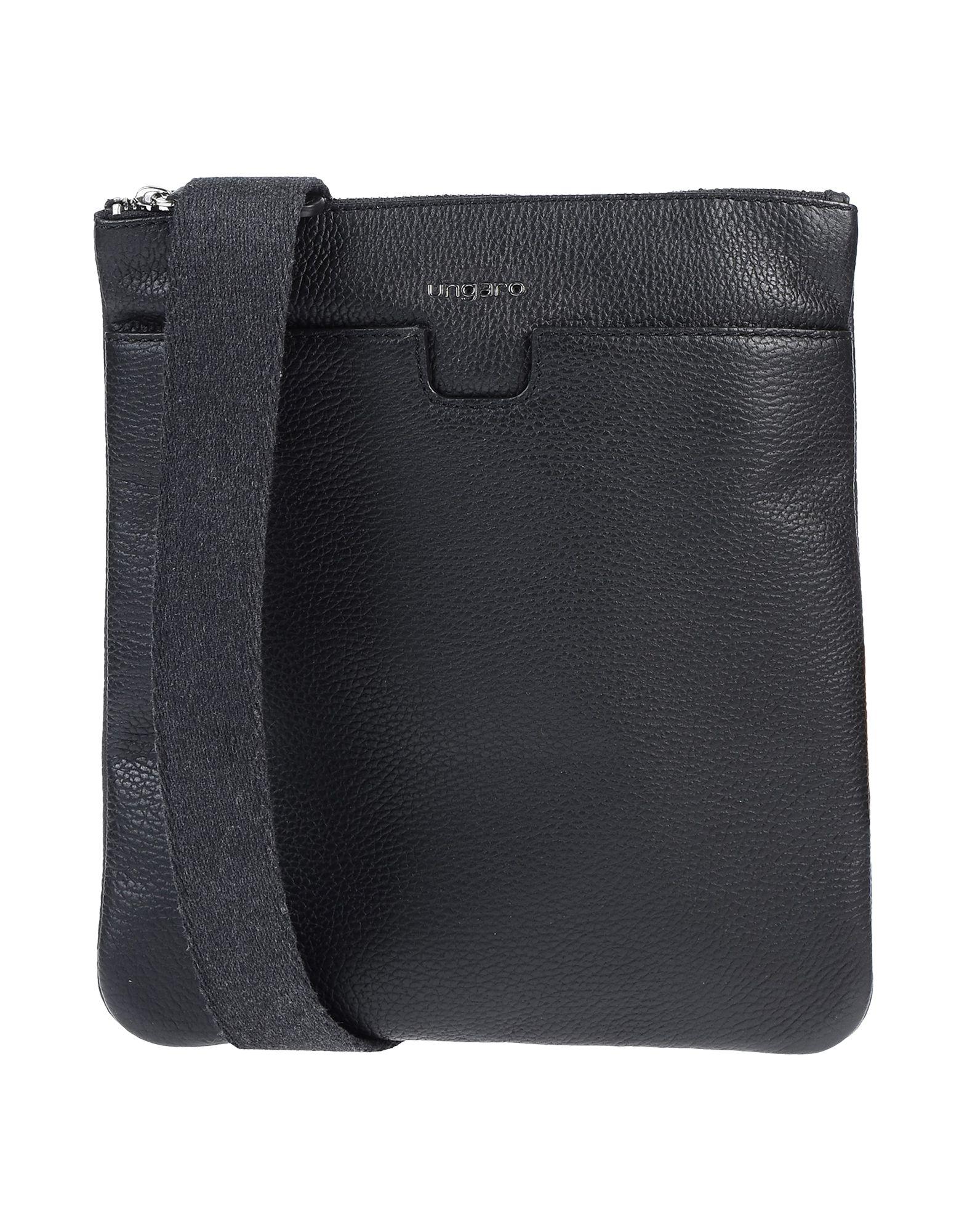《送料無料》UNGARO メンズ メッセンジャーバッグ ブラック 牛革