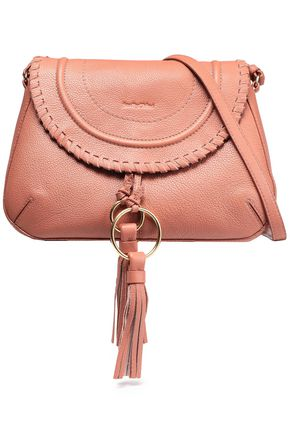 SEE BY CHLOÉ Whipstitch-trimmed pebbled-leather shoulder bag