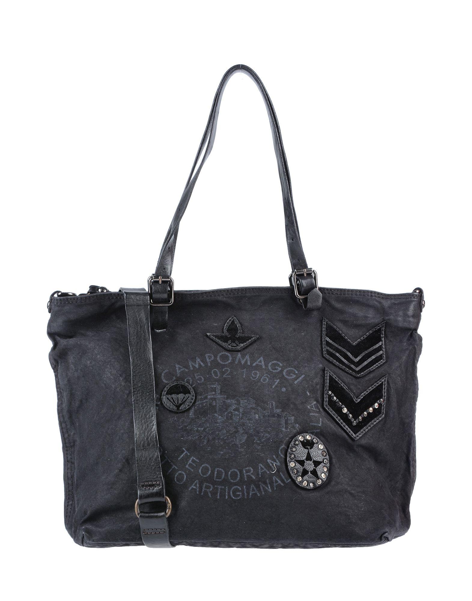 《送料無料》CAMPOMAGGI レディース ハンドバッグ ブラック 紡績繊維 / 柔らかめの牛革