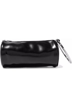 KARA Glossed-leather clutch
