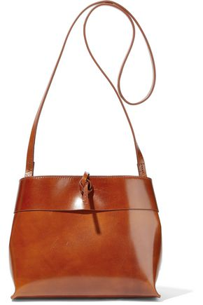 KARA Tie burnished-leather shoulder bag