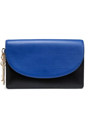 DIANE VON FURSTENBERG Studded two-tone leather clutch